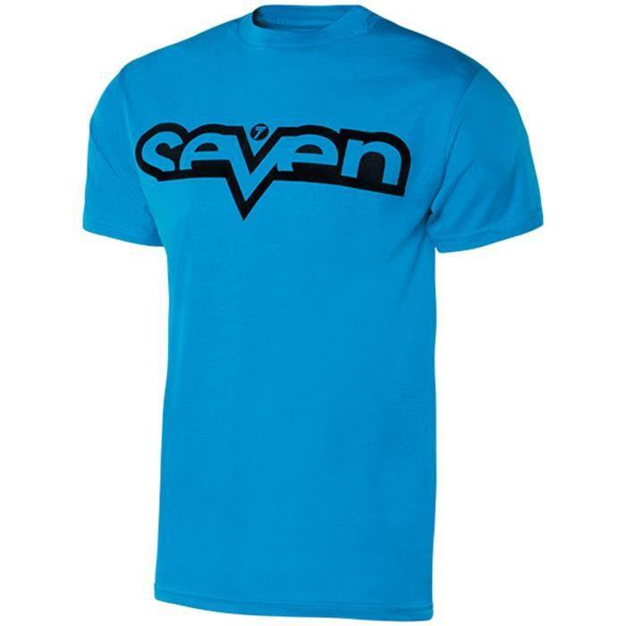 36e0881eb9e1 Tee shirt Enfant Seven MX Brand Cyan-Noir Bleu Bleu - Achat   Vente ...