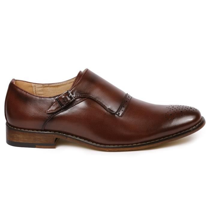 Mc112 Monk Strap Slip-on Loafers Dress Shoe RE9PW Taille-42 1-2