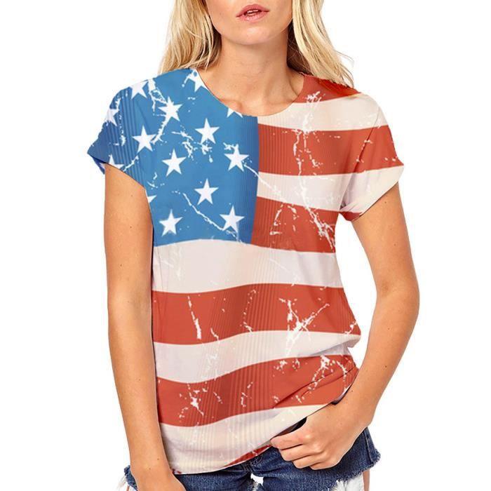 Plus shirts Size shirt Manches Chemisier T Courtes Filles Rouge Tops T Femmes Print wnx4XSB