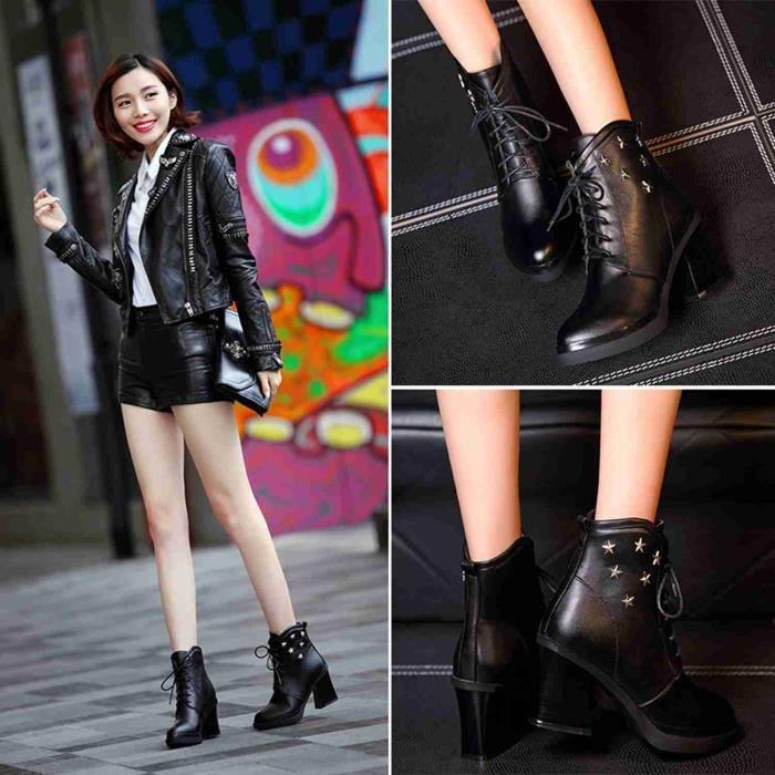 Automne et hiver à talons hauts bottes pour femmes chaussures chaudes, plus velours zipper épaisse avec des bottes de coton occas...