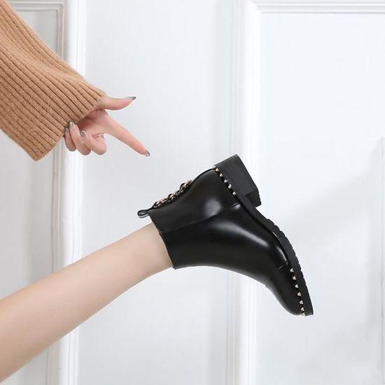 Femmes Rivet Chaussures plates Martain Bottes Bottines en Toe cuir ronde Chaussures Zipper Toe en Noir Noir Noir - Achat / Vente botte 582eac