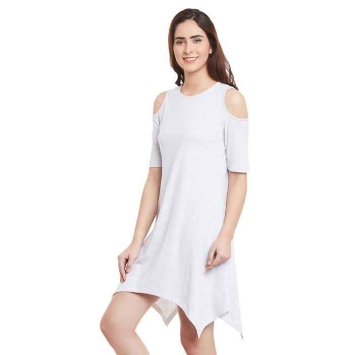 Womens Solid Round Neck Half Sleeve Mini A-line Dress L6OFK Taille-40