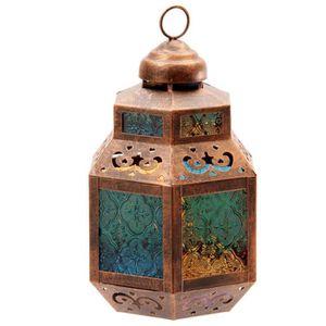 PHOTOPHORE - LANTERNE Lanterne marocaine - Vitres colorées - 26 x 14 x 1