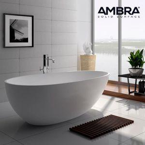 baignoire ilot 150 cm en solid surface sensa blanc achat vente baignoire 3701034602389. Black Bedroom Furniture Sets. Home Design Ideas