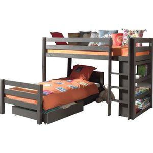 lit avec tiroir etageres et sommier achat vente lit. Black Bedroom Furniture Sets. Home Design Ideas
