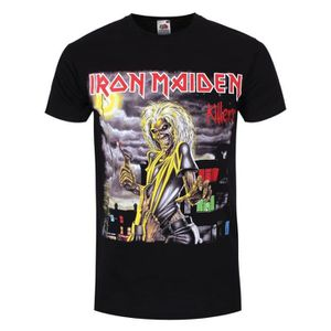 85c4cdafe3093 T-SHIRT Un t-shirt noir pour homme de Iron Maiden avec imp