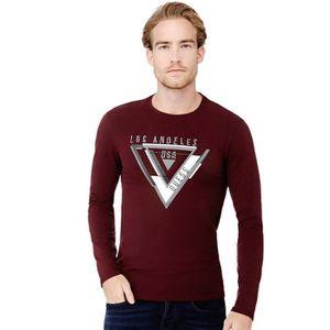 T-SHIRT Guess T-Shirt Homme Manches Longues Bordeaux ... 1c6af753ccfe