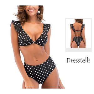 0e3de8866f Femme Maillot de Bain Rétro 2 Pièces Tankini Sexy Push Up Bikini femme à  pois Taille