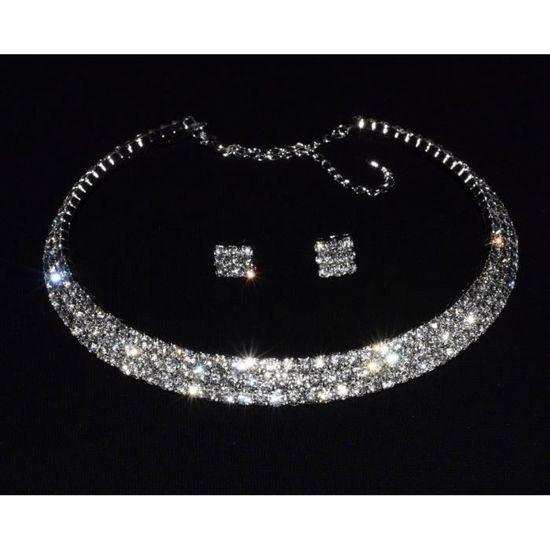 e08c8e83db5 Parure Ras de Cou 3 Rangs Parure bijoux Mariage   Soirée - Achat ...