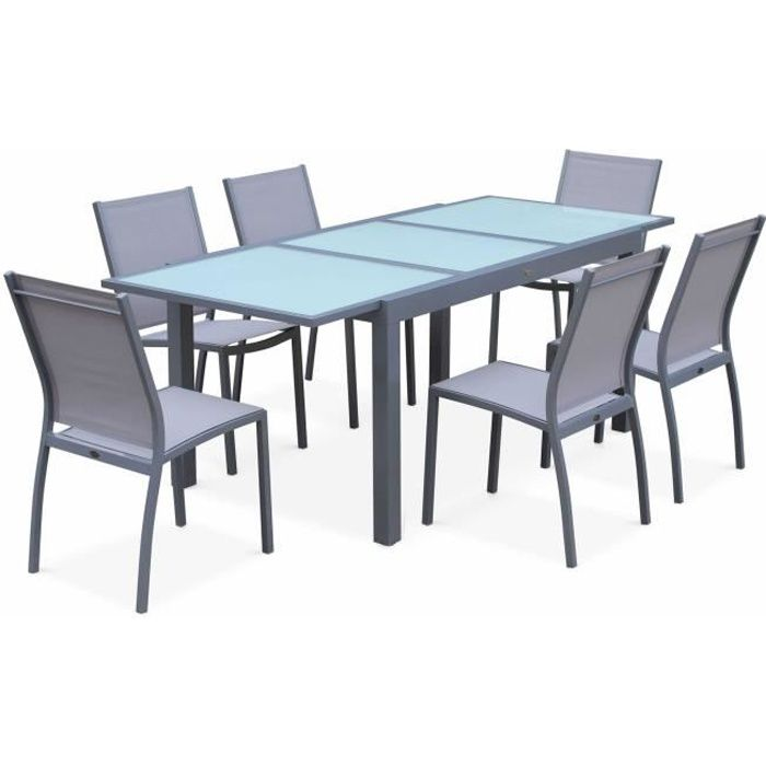 Salon de jardin table extensible - Orlando Gris clair - Table en ...