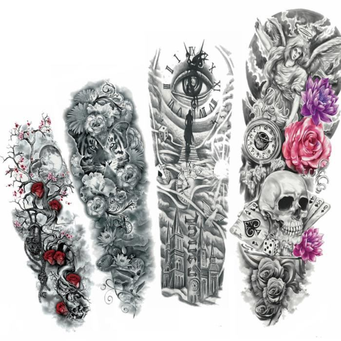 4 Morceaux Noir Tigre Fleur Tatouage Temporaire Femmes Plein Bras