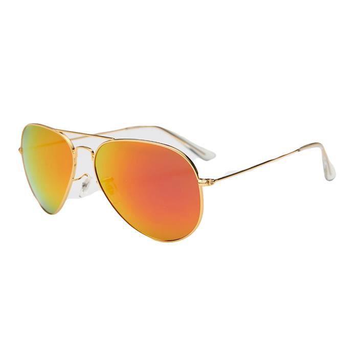 Lunettes de soleil mixte homme et femme polarisées Fashion sunglassesModerne Métal Cadre Golden/ Orange rouge