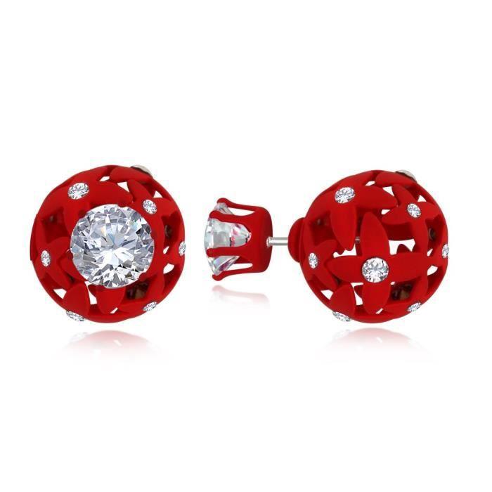 Femmes Fancy Red évider ballon rond Annonce pierre double face Boucles doreilles pour Aier 703 UG64H