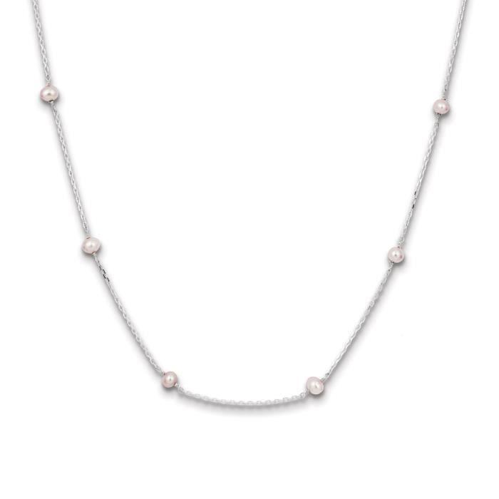 Argent Sterling deau douce de culture Collier de Perles Couleur Crème - 18 cm