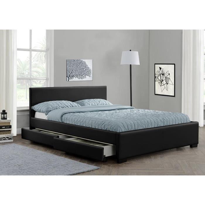 Lit Simili Noir Avec Tête De Lit Et Tiroirs Boston X Achat - Lit futon 160x200 avec tiroirs