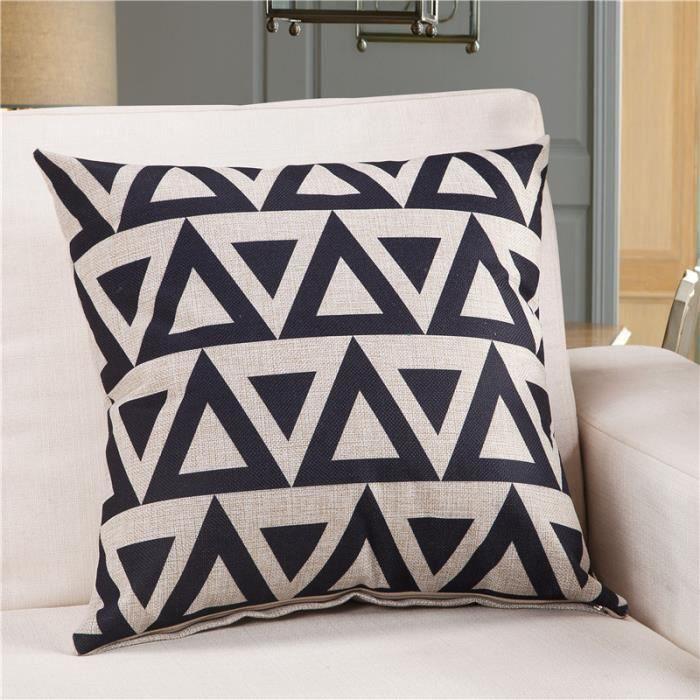 Housse de coussin en lin coton motif losange/triangle géometrique