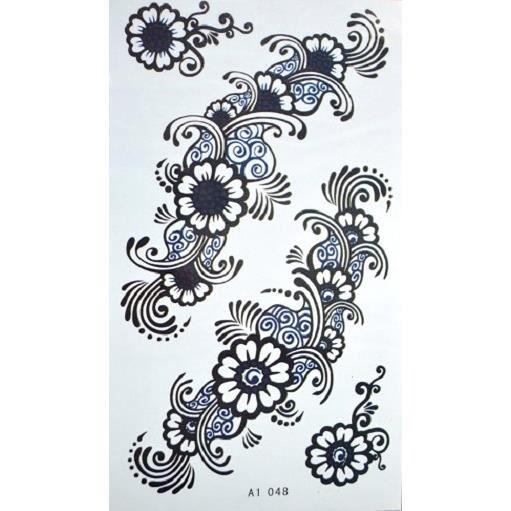 tattoo tatouage temporaire de motif dessin tribal fleurs. Black Bedroom Furniture Sets. Home Design Ideas