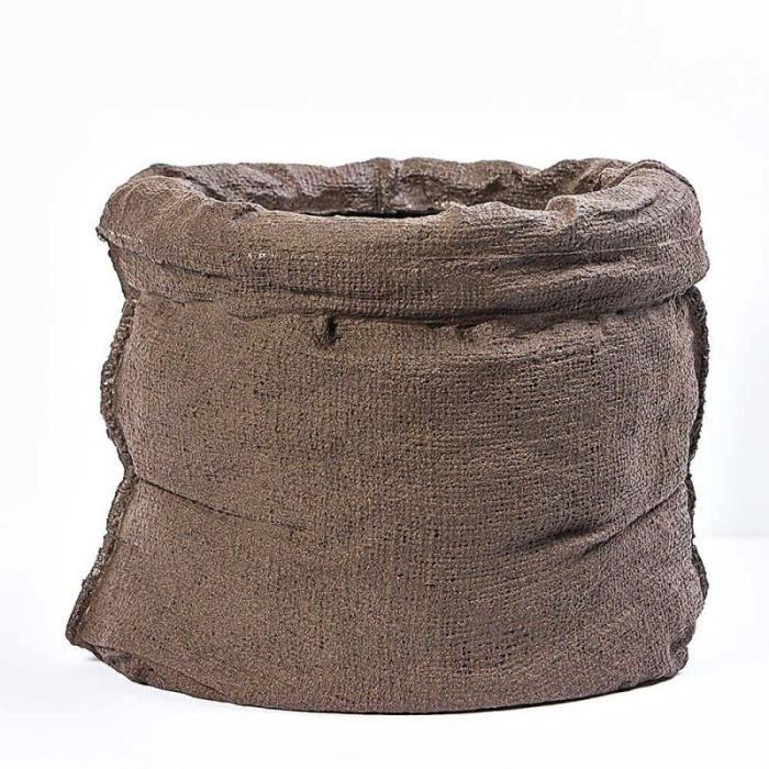 57791d8182f4 Pot cache-pot imitation sac, diamètre 47 cm hauteur 37 cm résine intérieur  extérieur chocolat