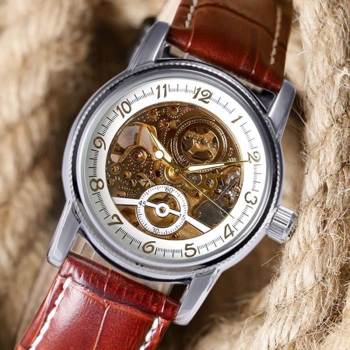 Forsining skeleton montre bracelet homme femmes d cor petit cadran m canique automatique forme d for Montre decoration