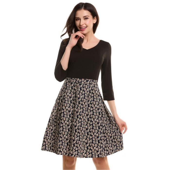 Robe femme de Cocktail Party Skater manches 3/4 Patchwork