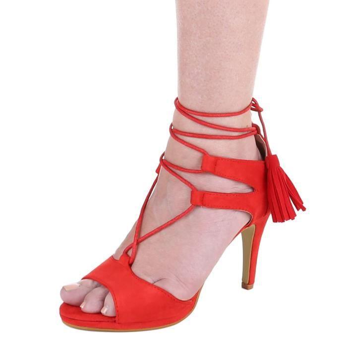 Chaussures femmes sandales Derbies Escarpins Talon haut rouge
