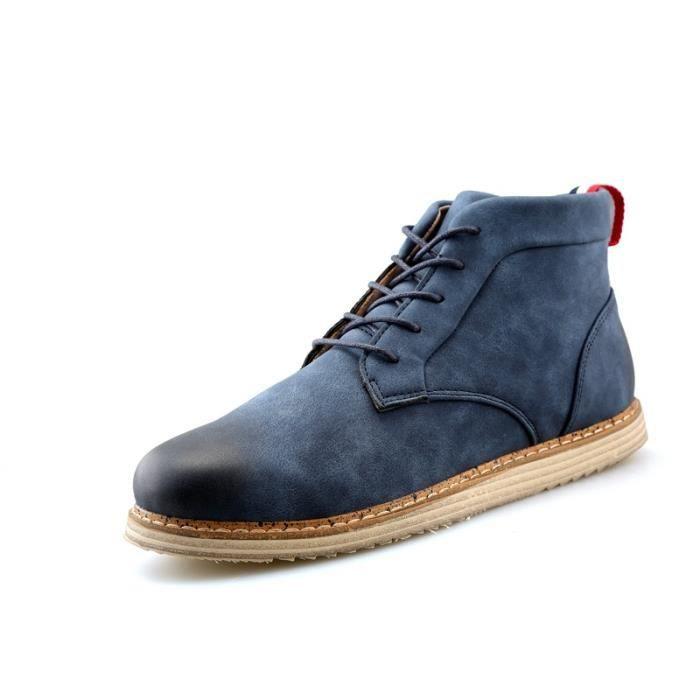 Botte Homme Nouveau design Vintage antidérapante Skater en cuir pour hommes bleu taille44