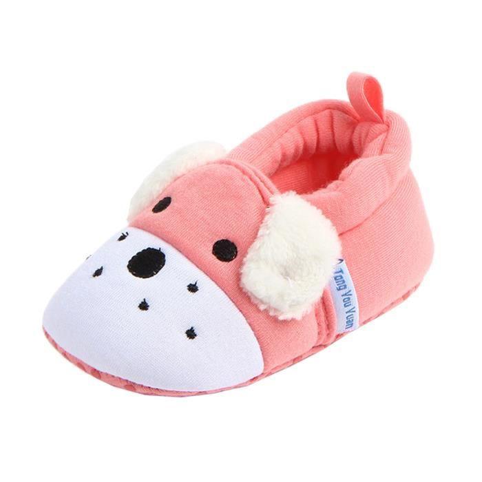 BIGOOD Bébé Mignon Chaussure Antidérapant Premiers Pas d'hiver Cartoon Coton