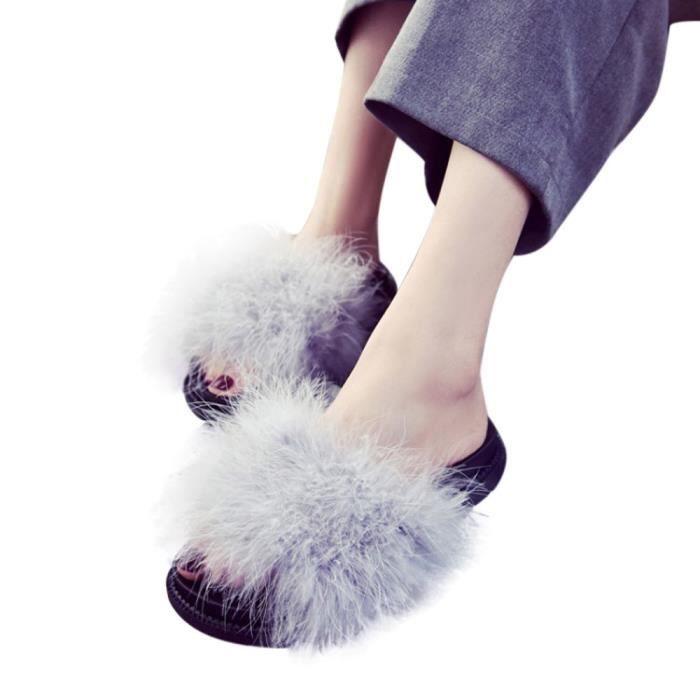 Femmes Dames Slip On Sliders Fluffy Faux Fourrure Flat Slipper Flip Flop Sandale Gris LTggsvdYk