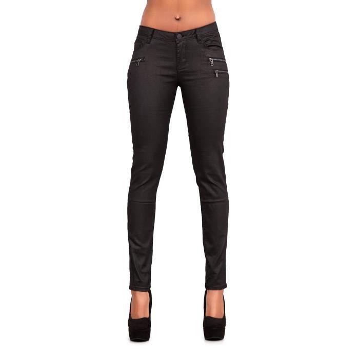 d7f4f890a0196 Pantalon en similicuir noir pour femme cire jeans uk tailles 6-14 3VJH18  Taille-32