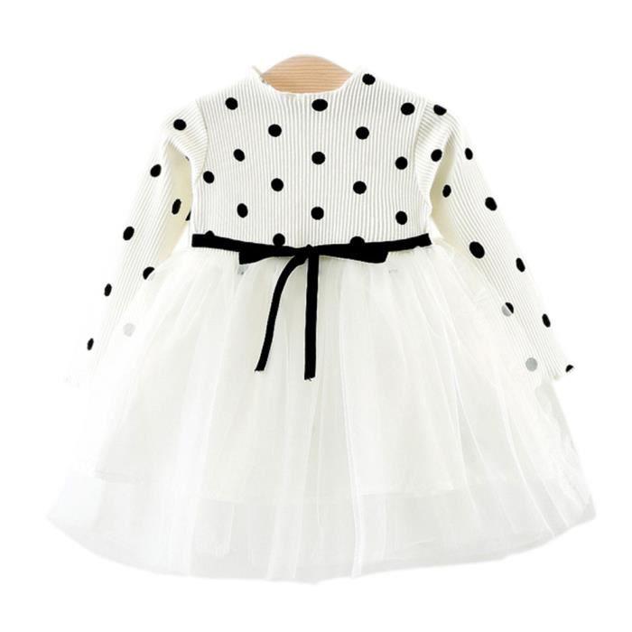 32d1148079160 Robe Bébé Fille Polka Princesse Manche Longue Cadeau Anniversaire Fête pour  3-36 Mois BLANC