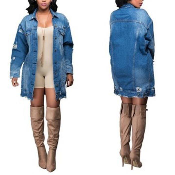dbc5bdcaf815e Bleu Blouson Femme en Denim Veste Jean Jacket Demi-longue Vogue Oversize  Boyfriend Déchiré Boutonné Printemps-Automne Grande Taille