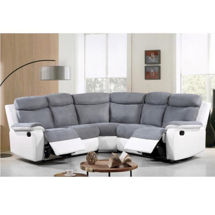 canap d 39 angle relax en microfibre et simili bilston. Black Bedroom Furniture Sets. Home Design Ideas