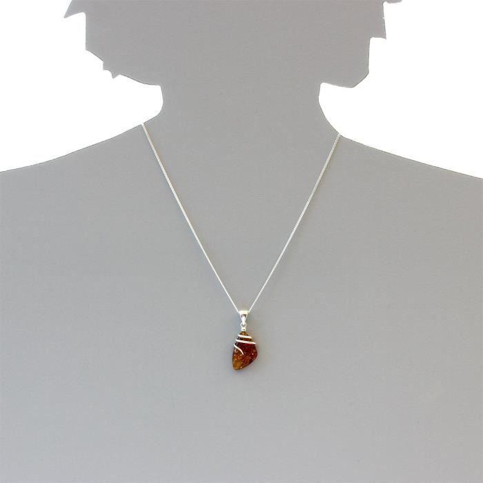 200073501241a - Collier Femme - Argent 925-1000 - Ambre Q6OO6