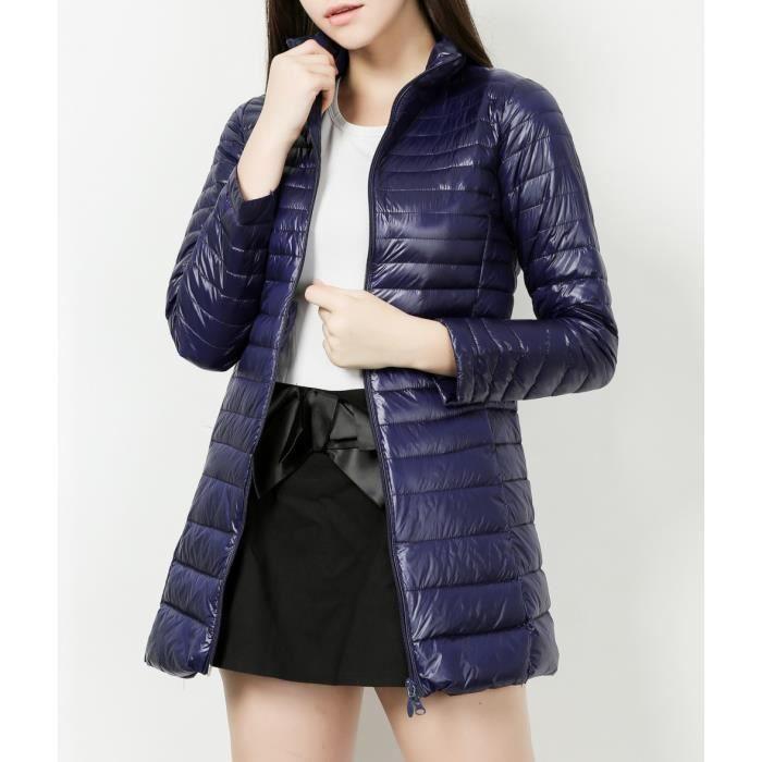 Ultra Duvet Hiver Col Compressible Long Doudoune Down Grande Taille Blouson Légère Femme Bas Mandarin Bleu Jacket WrqF6rwn