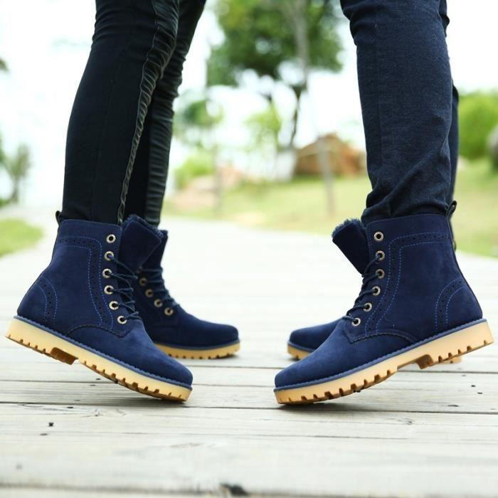 Botte Homme cheville style coréen bleu taille44