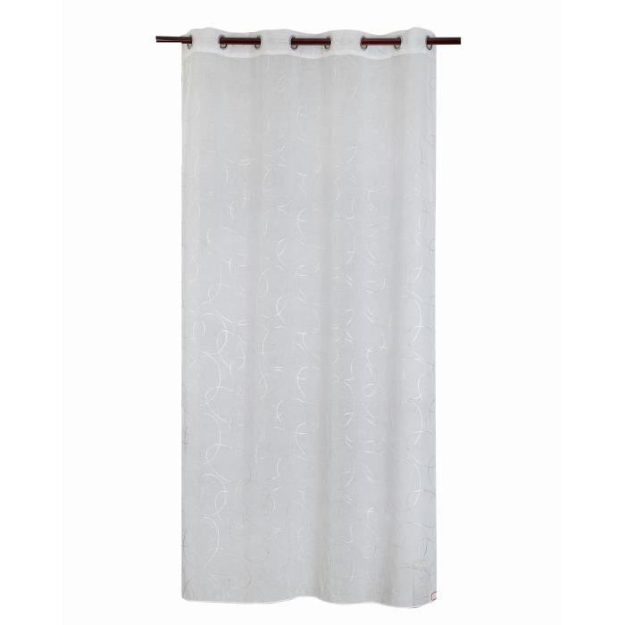 Matière : 100% polyester - Dimensions : 140x240 cm - Coloris : argenté et blanc - Type d'attaches : 8 ŒilletsVOILE - VOILAGE