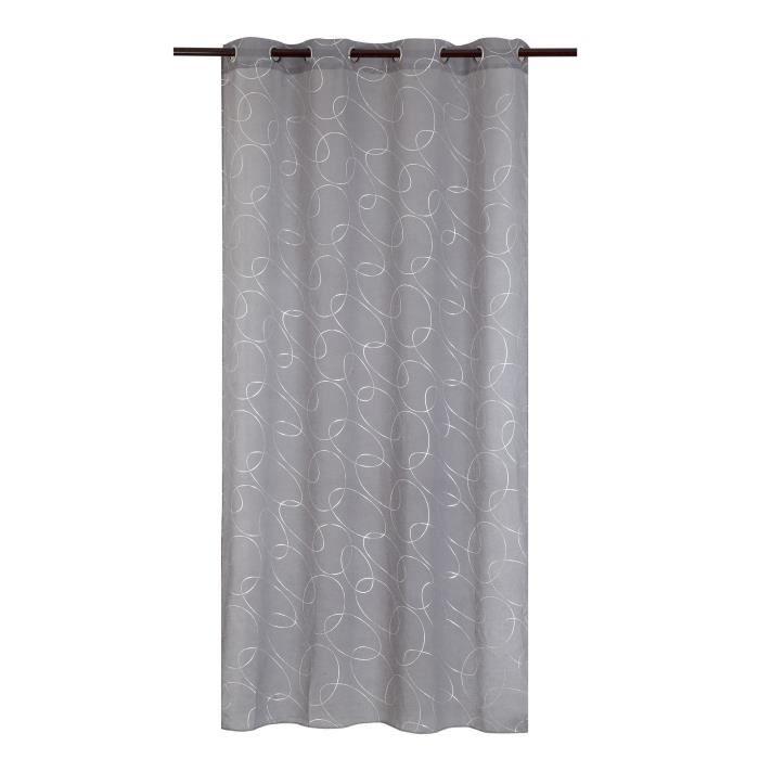 Matière : 100% polyester - Dimensions : 140x240 cm - Coloris : argenté et gris - Type d'attaches : 8 ŒilletsVOILE - VOILAGE