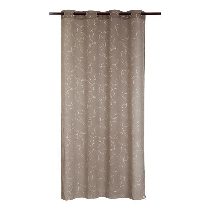 Matière : 100% polyester - Dimensions : 140x240 cm - Coloris : argenté et taupe - Type d'attaches : 8 ŒilletsVOILE - VOILAGE