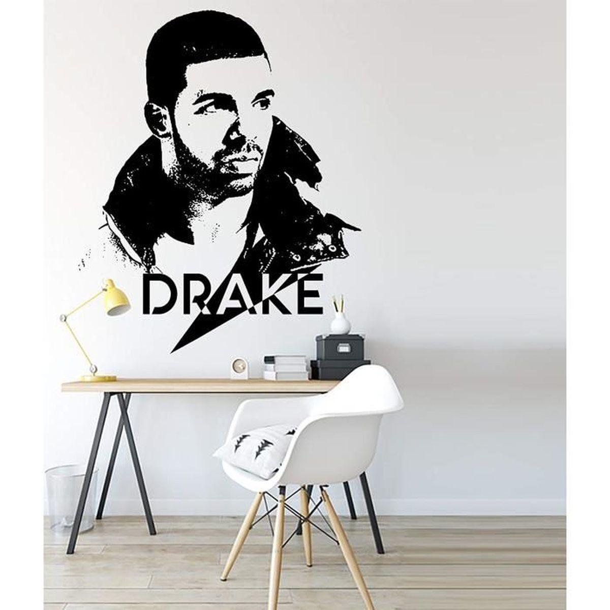 Drake Grand Sticker Mural Célébrité Portrait Autocollant Adhésif