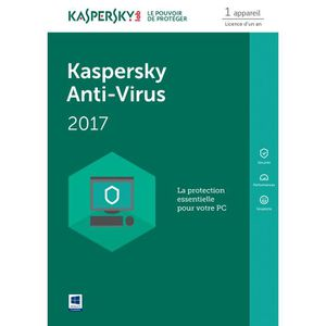 BUREAUTIQUE À TÉLÉCHARGER Kaspersky Antivirus 2017 1 Poste / 1 An / Version