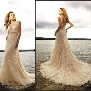 e4fe8c64e6b Robe de mariage-marié-bal plage-vintage longue dentelle he A-linge grande  taille sexy col V épaules dénudées man…