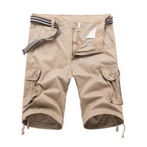 SHORT Pantalon Homme Short Couleur Unie Beaucoup De Poch
