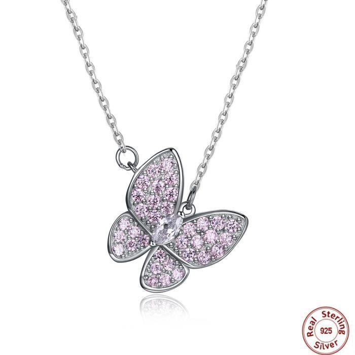 Papillon Collier femme en Swarovski Elements Rose Cristal Argent 925 Papillon Pendentif Collier