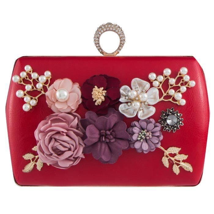 Sacs de soirée Embrayages de perles Perle fleur Sac à main Sac à bandoulière de mariée HLXYC