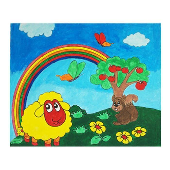 Enfants Bricolage Palette De Couleurs Canevas Peinture Rainbow World