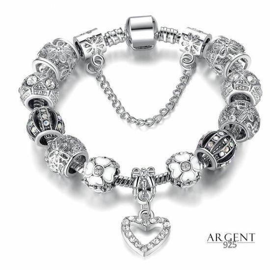 Bracelet Serpentine Charms Coeur 18 cm Cristal Argent 925