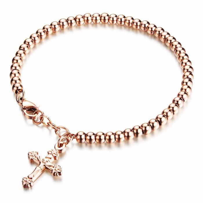 fc77f96625355 Femmes en acier inoxydable Croix Bracelets de perles - Achat / Vente ...