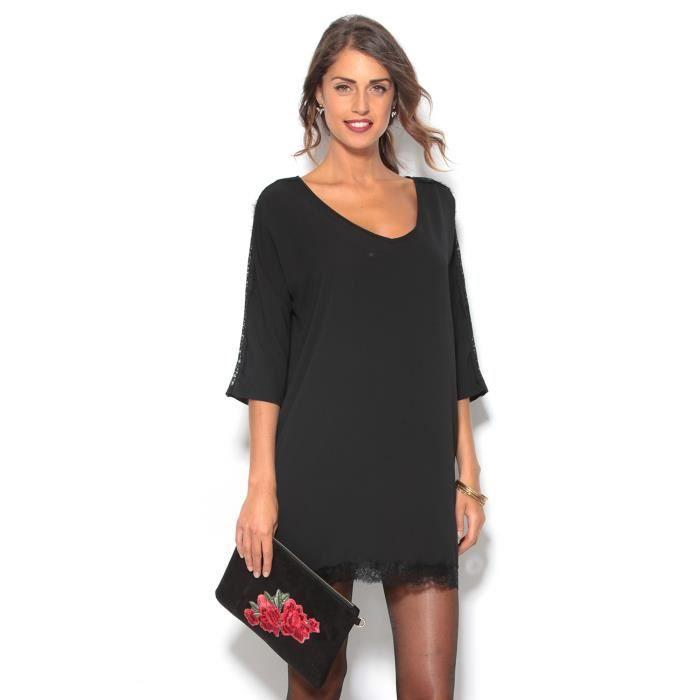 e1d6f8c6d77 Robe tunique courte manches 3-4 et dentelle femme Noir Noir - Achat ...
