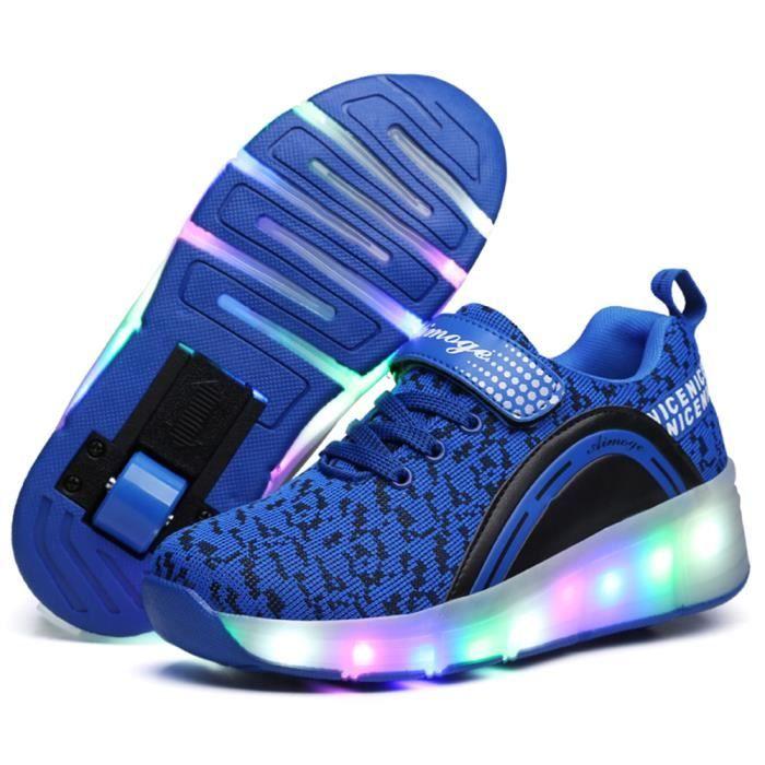 Baskets Enfants LED Chaussures Lumineuse À Roulettes Garçons Filles Sneakers Avec Roues Automatique De Patinage Chaussures