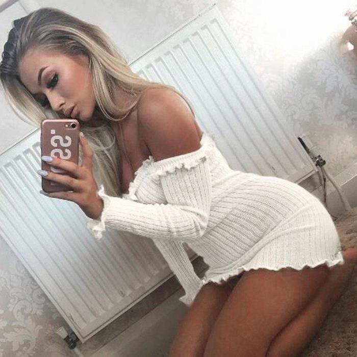Nouvelle mode femmes Casual slash cou de lépaule à manches longues Bodycon Ruffle Solid mini robe